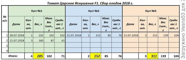 Учет сбора томатов Царское Искушение F1  по состоянию на 21 июля.