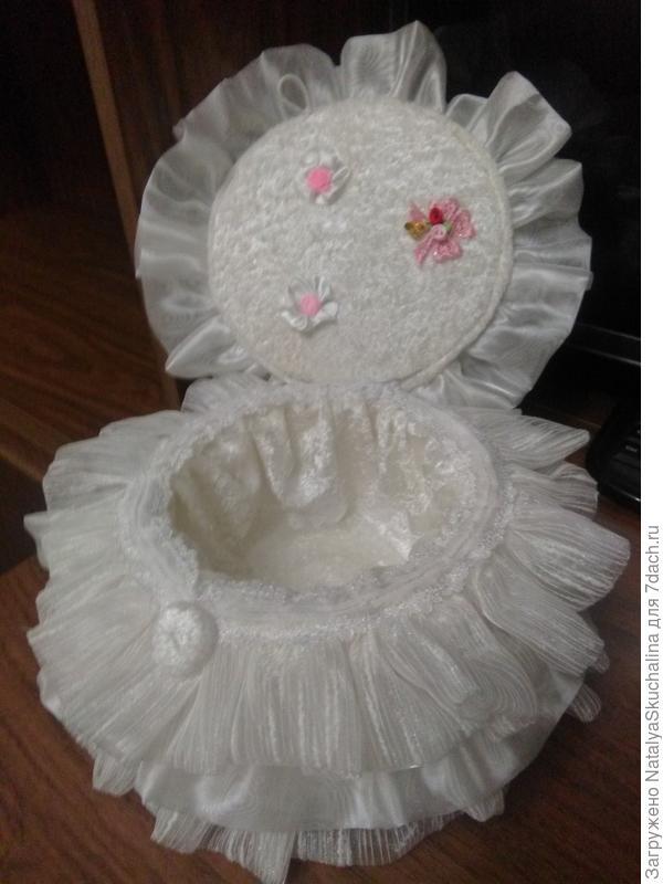 под платьем куклы- шкатулочка (из коробки от СД-дисков)