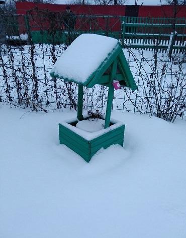 Колодец наполнен снегом.