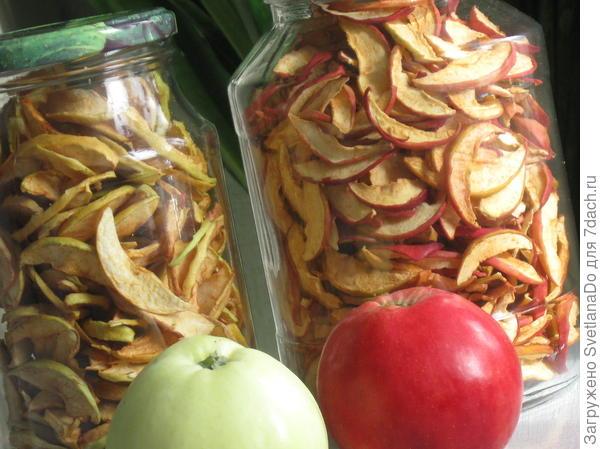 яблоки сушеные храню в банках