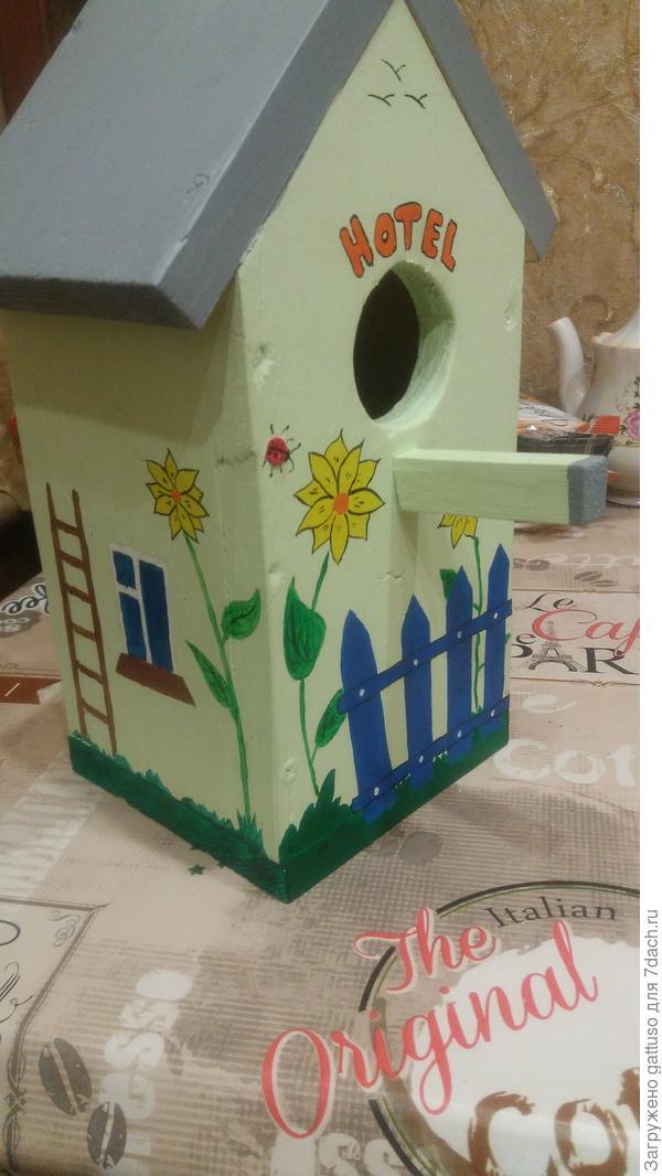 Вот такой у меня вышел домик для птичек))