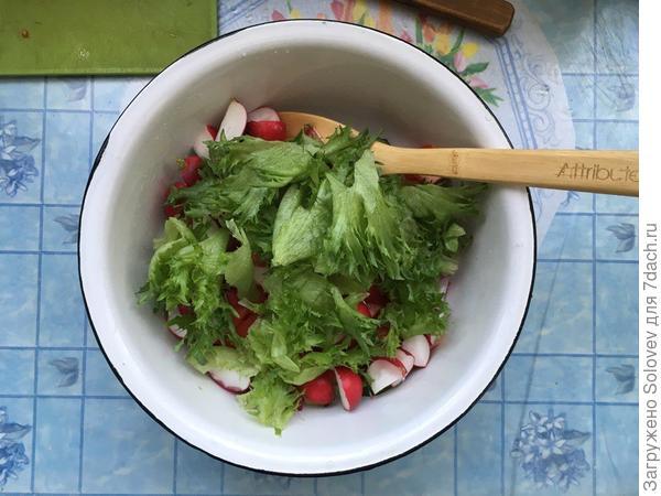 Рвём руками листовой салат и добавляем в блюдо