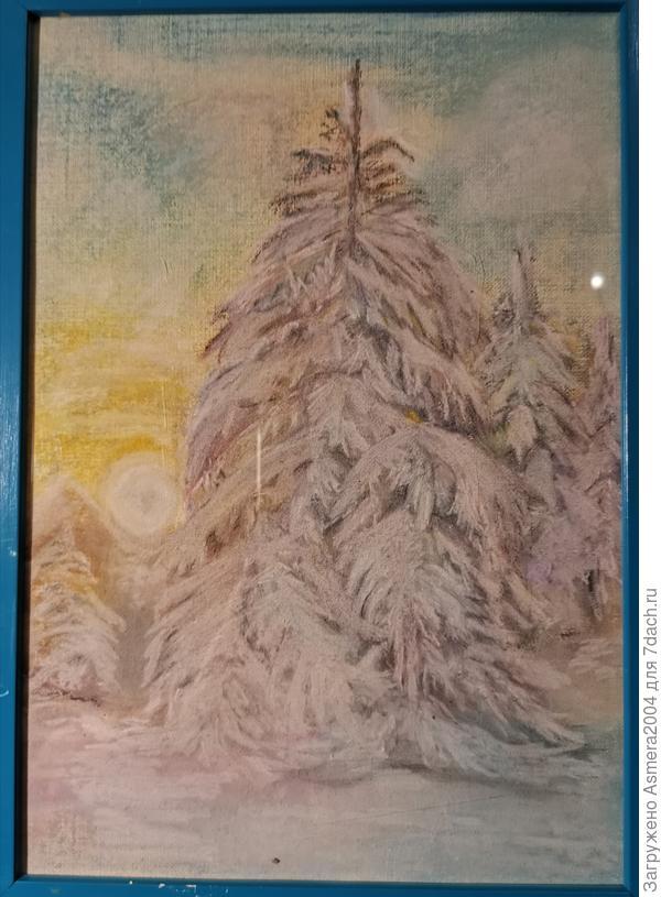 Пастель Зимний лес
