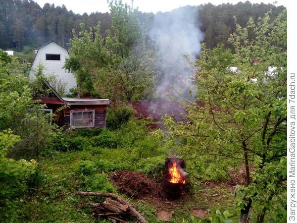 сжигание бесконечного мусора (там всякие сухие вишни)