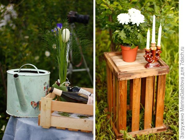 еще немного нашего спонтанного садового декора - мы его слепили из того, что было))