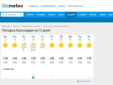 Примерная погода на ближайшие 10 дней у нас.