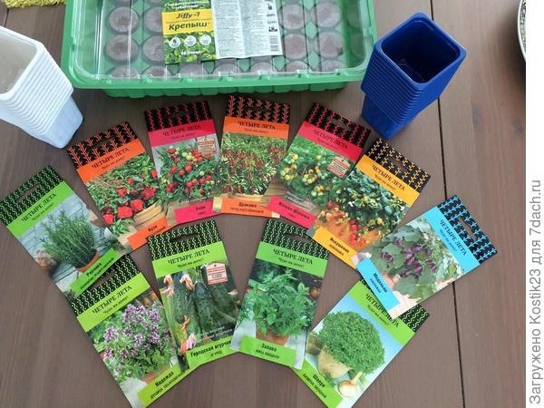 Семена и контейнеры с торфяными таблетками и мини тепличка.