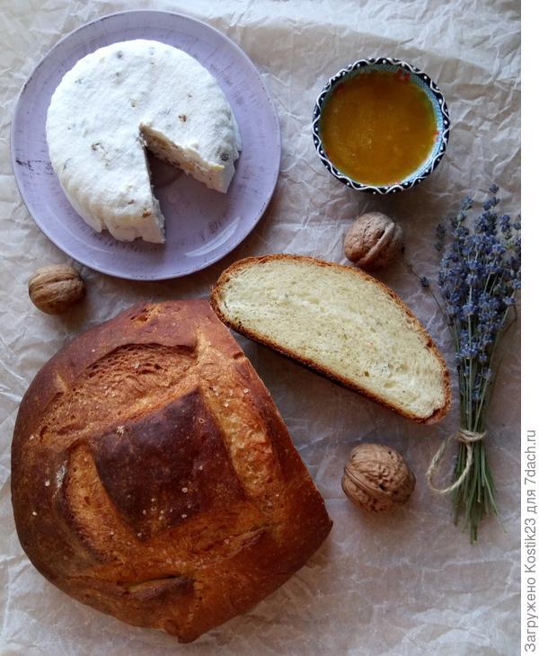 """""""Домашний хлеб с мёдом и лавандовой и Мягкий сыр с грецким орехом""""..."""
