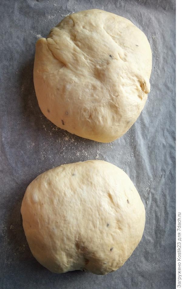 У вас получится два хлеба, накройте их полотенцем и пусть созревают...