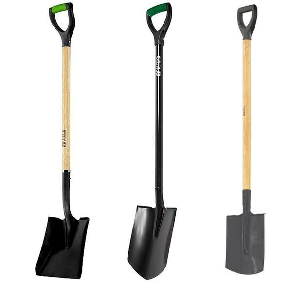 В дачном хозяйстве нужны три лопаты: совковая, штыковая и штыковая прямоугольная