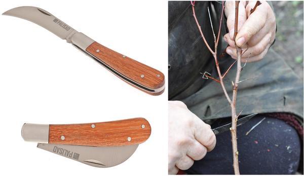Складной садовый нож PALISAD с изогнутым лезвием и деревянной рукояткой. Такой нож идеален для заготовки черенков