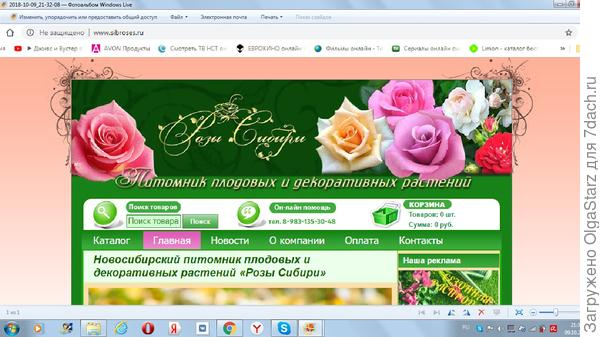 Это главная страница сайта Розы Сибири.