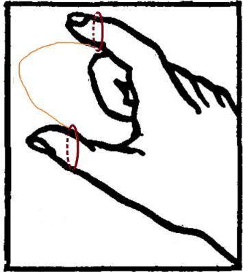 леска на пальцах