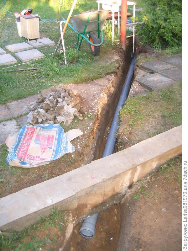 Закладка сантехнических труб под будущий теплообменник от котла, который установили через три года.