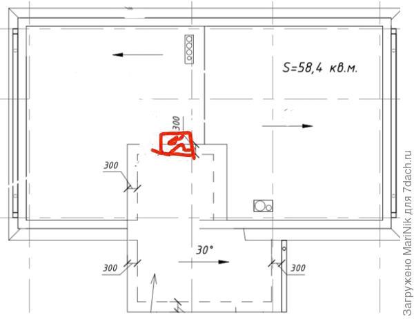 План крыши, красным указан выход на крышу