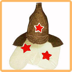 Набор для бани и сауны ЗВЕЗДА в коробке, (шапка, рукавица и коврик)