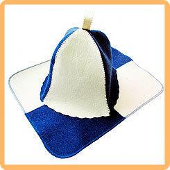 Набор для бани и сауны ИНЬ ЯНЬ в пакете, (шапка и коврик)