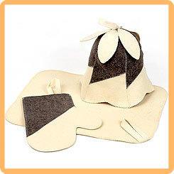 Набор для бани и сауны ЖЕНСКИЙ в коробке, (шапка, рукавица и коврик)