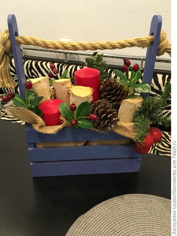 Новогодняя композиция в ящичке - за поленцами на дачу ездила)))