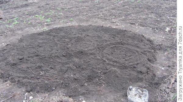 Будущая круглая клумба с намеченными на ней местами под разные растения.