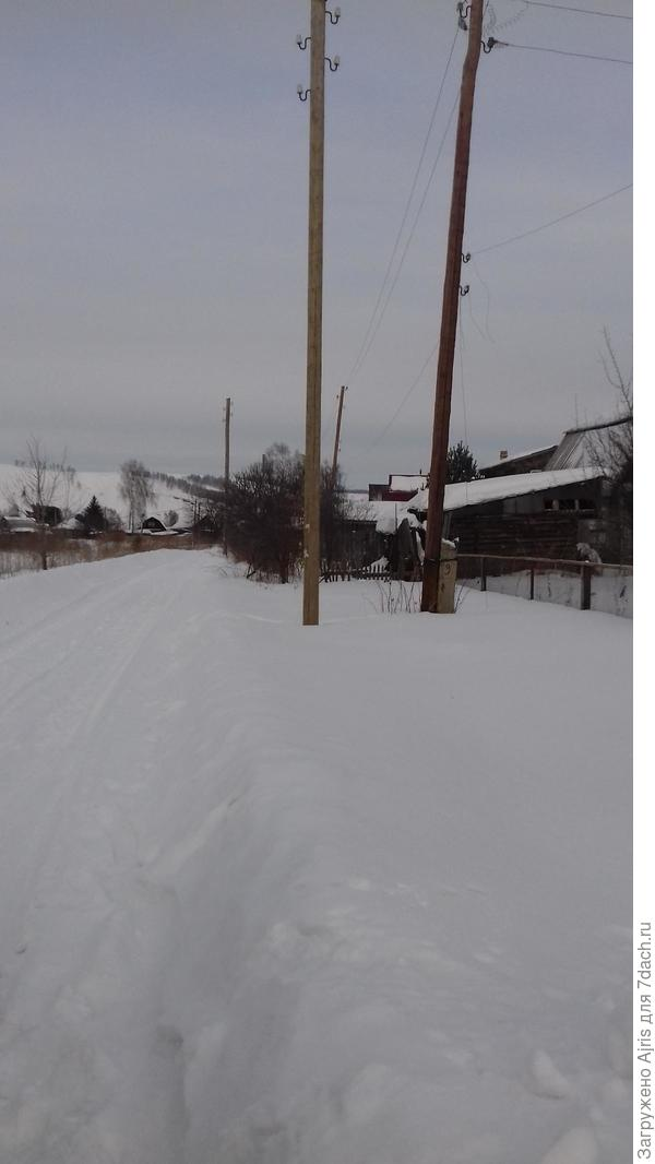 """На зимней фотографии видите наша сетка рабица в рамках справа вдоль участка и его покосившийся кусок штакетника на границе """"палисадников"""". Вот в этом углу он постоянно копает"""