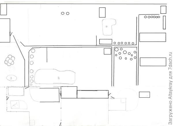 это моя матрица-схема, дорожки, постройки, кустарники и пр.