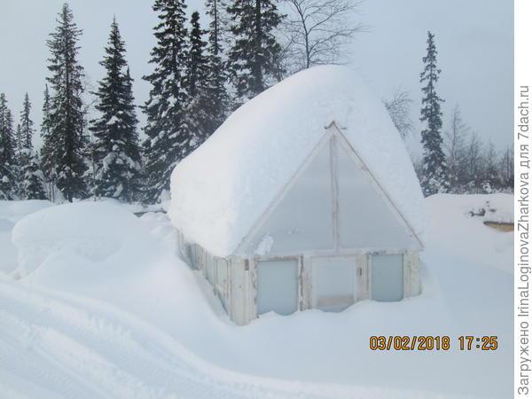 Моя новая теплица,проходит проверку на прочность под снегом.
