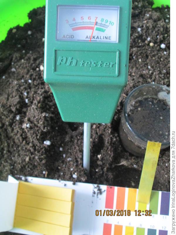 Замер кислотности полученной почвы