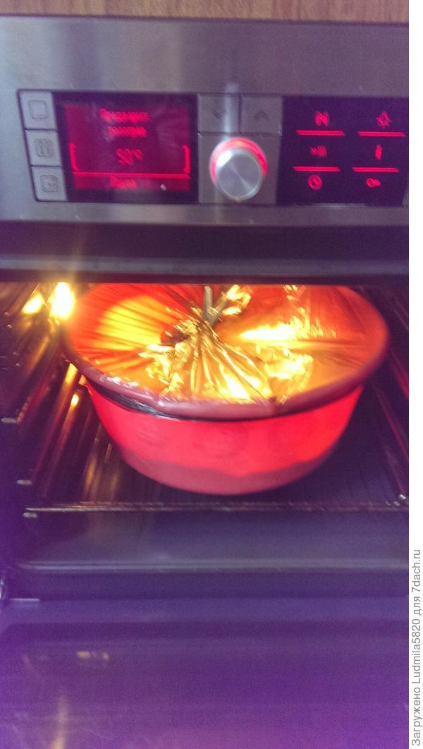 Замешиваем тесто и ставим опару подходить в духов.шкаф на 1, 5 ч., не забывая обминать время от времени