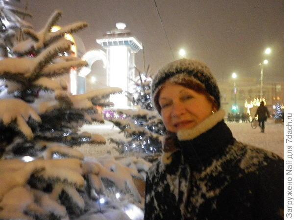 Вот и я сфотографировалась. А снег идет!