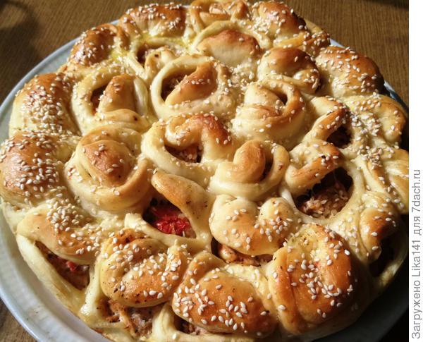 Отрывной мясной пирог - Хризантема