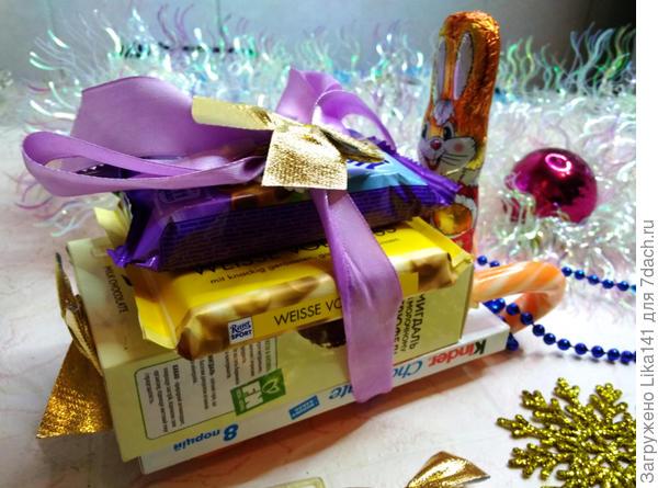 сани из конфет на новый год своими руками