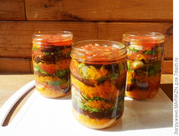 Баклажаны в медовом маринаде; Осенний калейдоскоп; пошаговый рецепт приготовления с фото