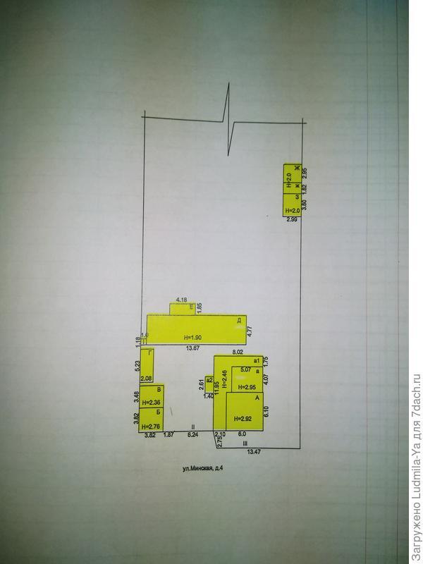 План расположения доставшихся построек (по техпаспорту) (остается только дом, все под снос)