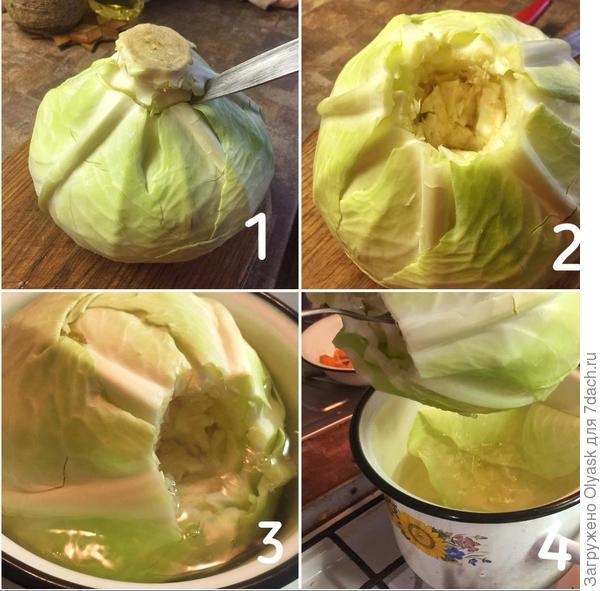 Отделяем капустные листья