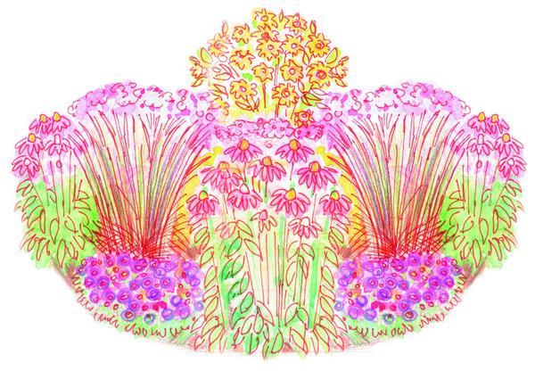 Цветник Зимняя столовая для птиц. Общий вид