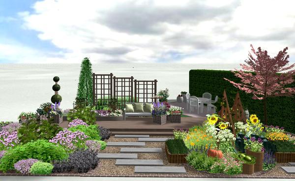 Даже на небольшом пространстве можно уместить главные садовые зоны