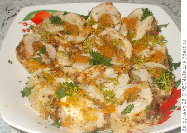 куриные рулеты с овощами