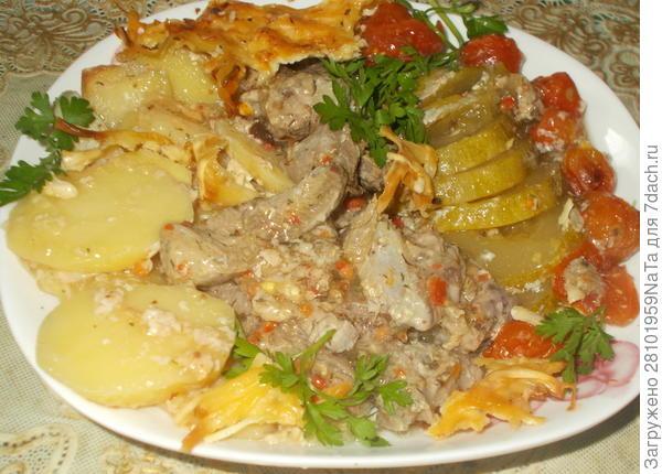 индейка с картофелем и кабачком