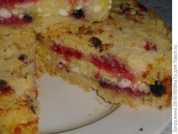 Насыпной пирог с творогом и ягодами - пошаговый рецепт приготовления с фото