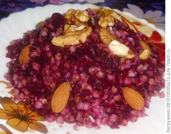 Отварные гречка и свекла с орехами - пошаговый рецепт приготовления с фото