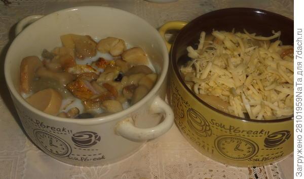 Жюльен с белыми грибами и куриным шашлыком - пошаговый рецепт приготовления с фото