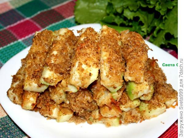 Кабачковые палочки в сырной панировке - пошаговый рецепт приготовления с фото