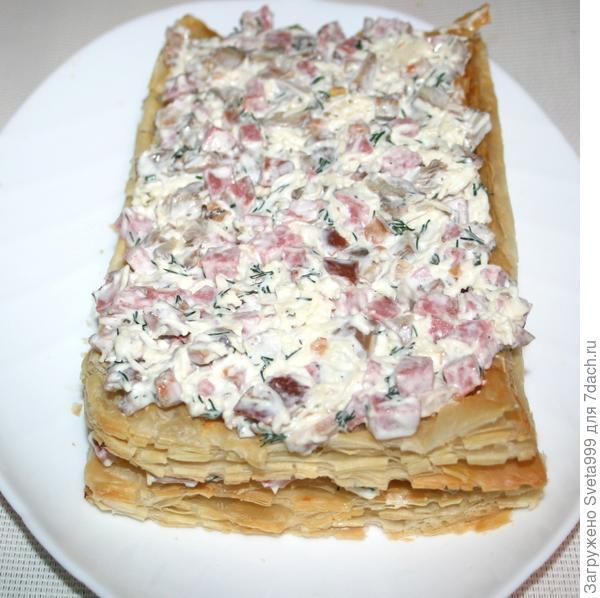 Слоёный закусочный торт - пошаговый рецепт приготовления с фото
