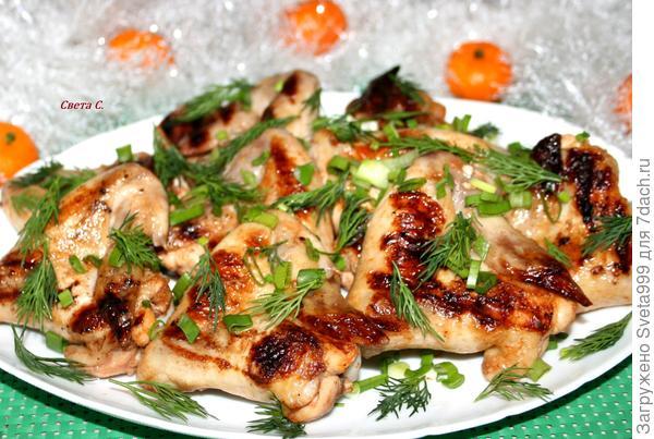 Куриные крылышки-гриль в мандариново-томатном маринаде. Пошаговый рецепт и фото