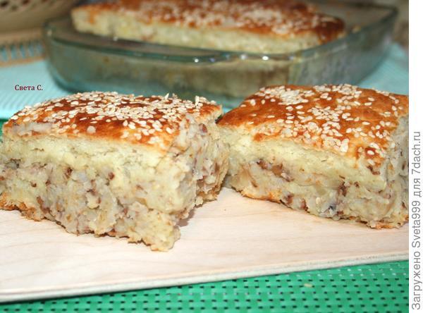 Пирог с картофелем и гречкой