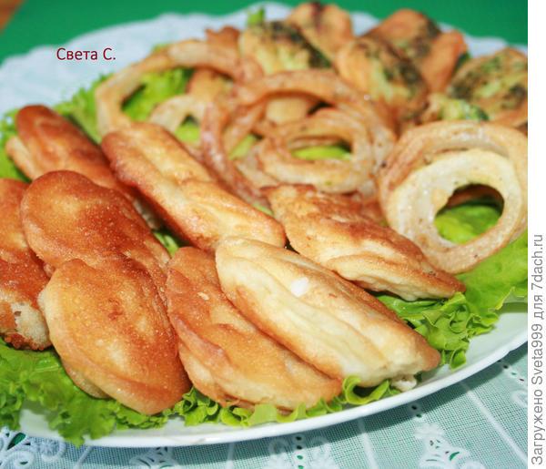 Рыба и овощи в кляре