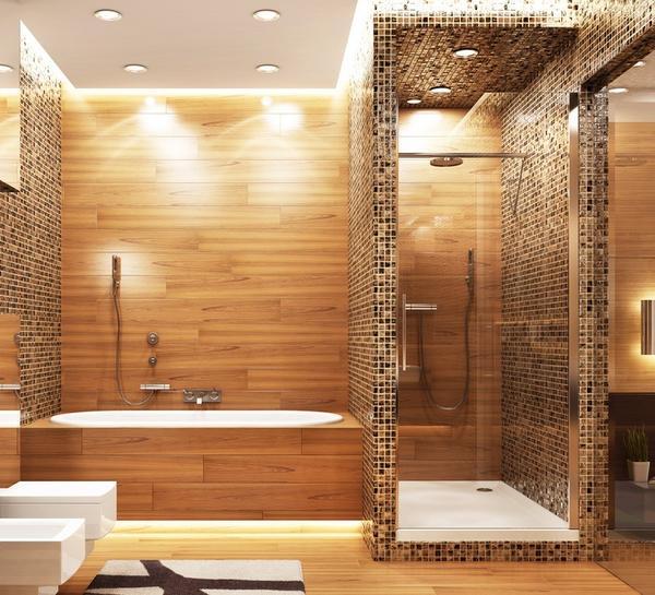 Душевая с каркасными стенами, отделанными мозаикой или плиткой, - очень практичное решение
