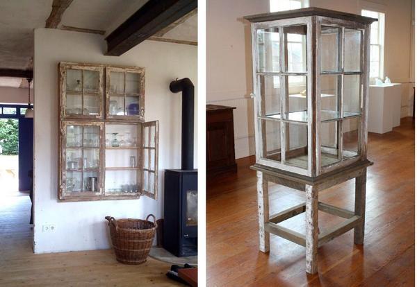 Примеры витрин из отслуживших оконных рам. Фото pinterest.ru