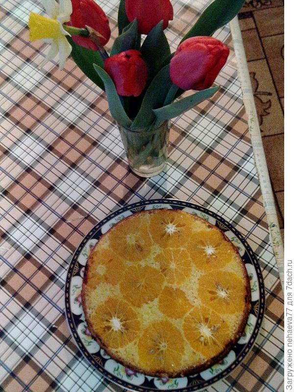 Мандариновый пирог; Сладость в радость; пошаговый рецепт приготовления с фото